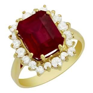 14k Yellow Gold 5.63ct Ruby 0.81ct Diamond Ring