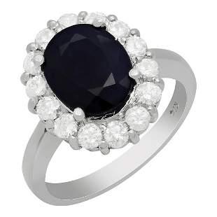 14k White Gold 3.18ct Sapphire 0.92ct Diamond Ring