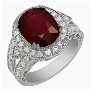 14k White Gold 6.99ct Ruby 1.18ct Diamond Ring