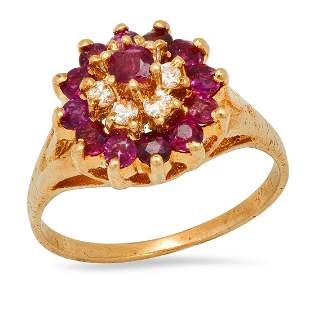 14K yellow Gold Ruby and Diamond Ladies Ring