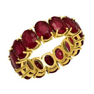 14K Gold 13.30ct Ruby Eternity Band Ring