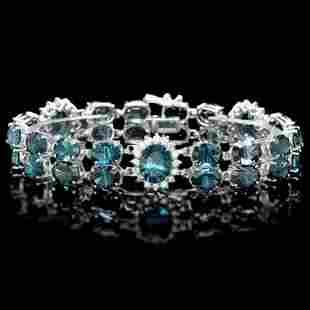 14K Gold 50.38ct Topaz 1.62ct Diamond Bracelet