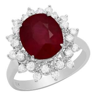 14k White Gold 5.14ct Ruby 0.64ct Diamond Ring