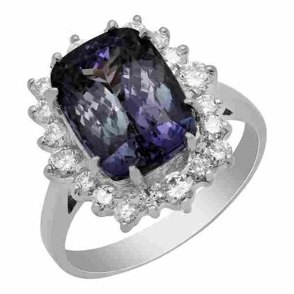 14K Gold 3.96ct Tanzanite and 0.89ct Diamond Ring