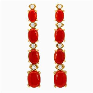14k Yellow Gold 7.99ct Coral 0.46ct Diamond Earrings