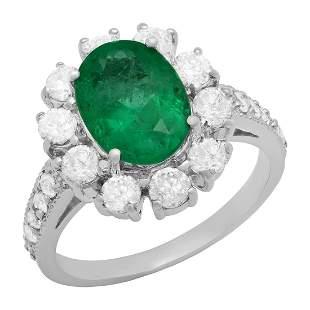 14k White Gold 1.54ct Emerald 1.43ct Diamond Ring