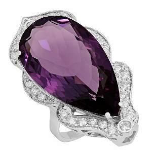 14k White Gold 24.16ct Amethyst 0.76ct Diamond Ring