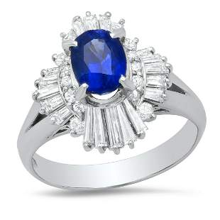 Platinum Setting With 1.69ct Sapphire and 0.88ct
