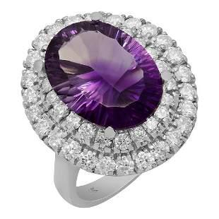 14k White Gold 6.76ct Amethyst 1.67ct Diamond Ring