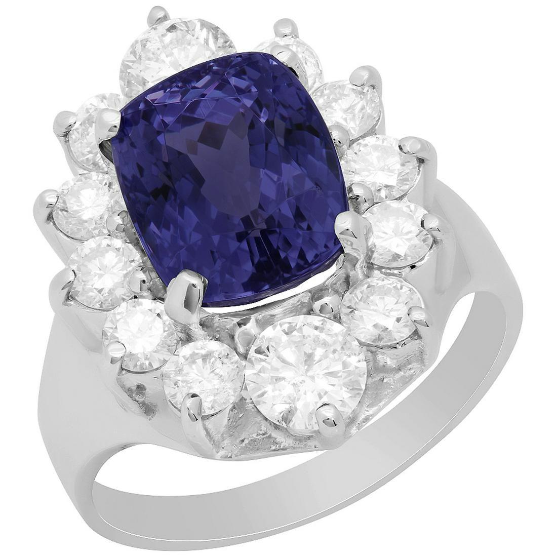 14k White Gold 4.52ct Tanzanite 1.71ct Diamond Ring