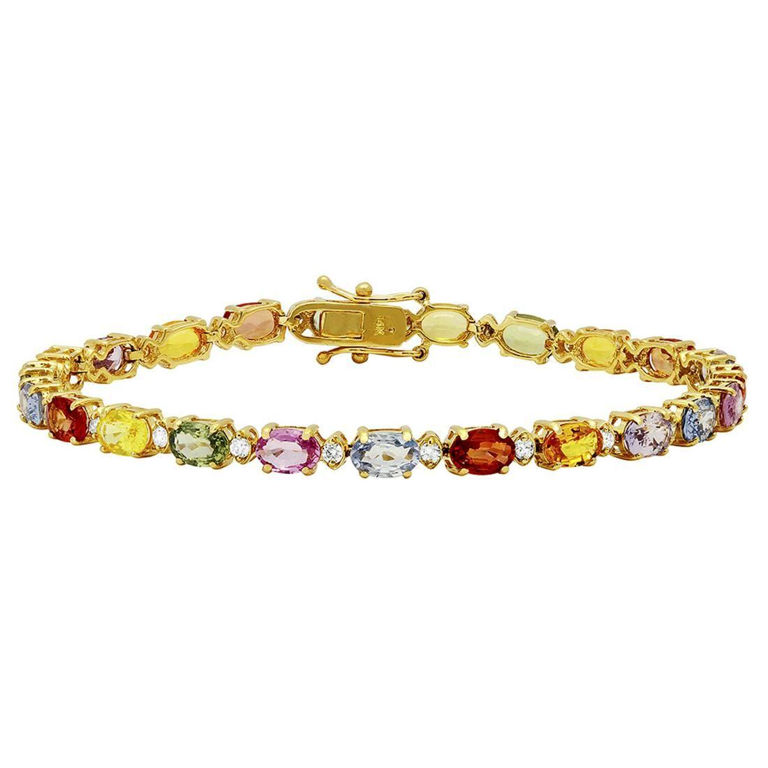 14k Yellow Gold 12.66ct Sapphire 0.64ct Diamond
