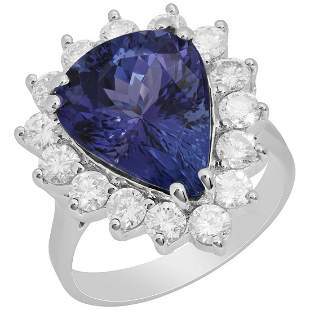 14k White Gold 6.43ct Tanzanite 1.47ct Diamond Ring