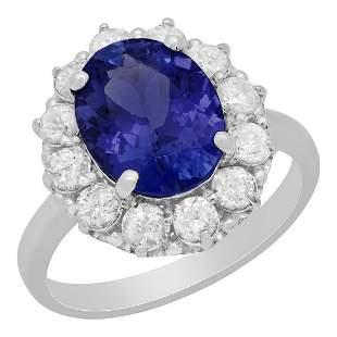 14k White Gold 3.10ct Tanzanite 1.00ct Diamond Ring