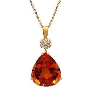 14k Yellow Gold 41.10ct Citrine 0.51ct Diamond Pendant
