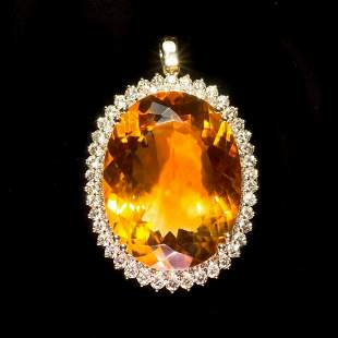 14K Gold 48.69ct Citrine 3.10ct Diamond Pendant