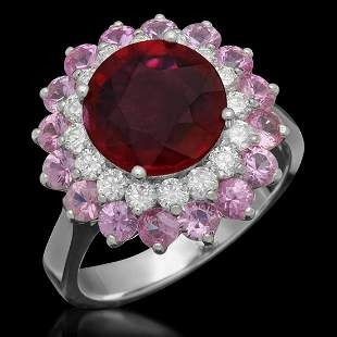 14K White Gold 3.0ct Ruby 2.13ct Sapphire and 0.58ct