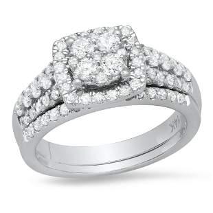14K White Gold and 1.08ct Diamond Bridal Set