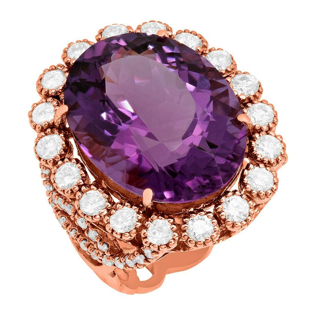 14k Rose Gold 17.38ct Amethyst 1.78ct Diamond Ring