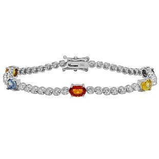 14k White Gold 3.51ct Sapphire 1.52ct Diamond Bracelet