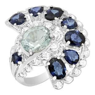 14k White Gold 2.45ct Aquamarine 5.69ct Sapphire 0.82ct