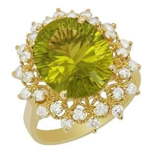 14k Yellow Gold 6.43ct Peridot 0.83ct Diamond Ring
