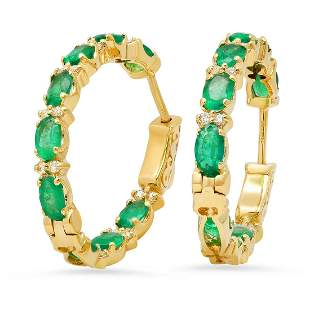14K Yellow Gold with 3.42ct Emerald and 0.37ct Diamond