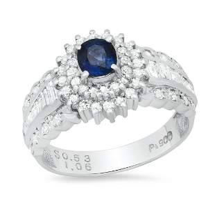 Platinum Setting with 0.53ct Sapphire and 1.06ct