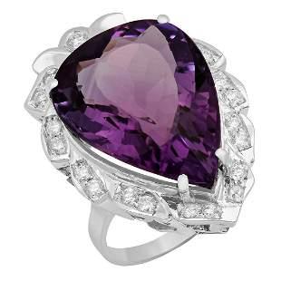 14k White Gold 19.87ct Amethyst 0.67ct Diamond Ring
