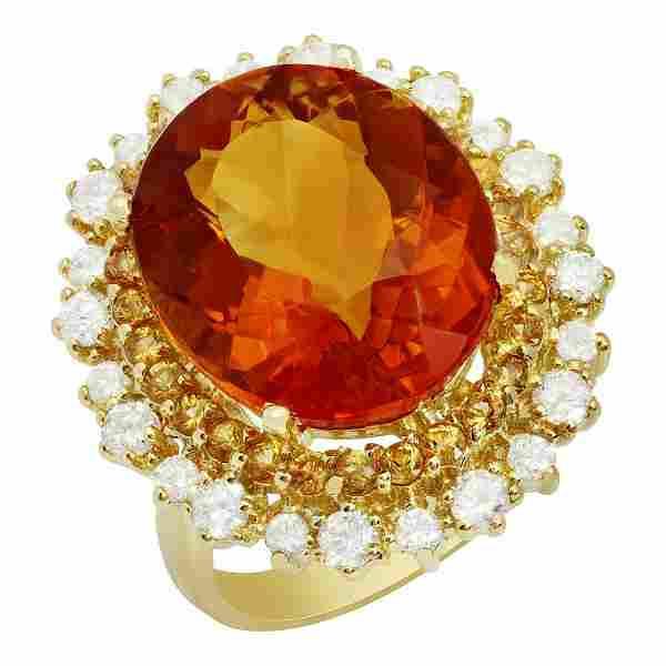 14k Yellow Gold 10.07ct Citrine 0.64ct Yellow Sapphire