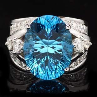14K White Gold 10.85ct Topaz and 0.77ct Diamond Ring