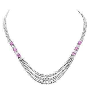 18K White Gold 9.83ct Diamond and 5.75ct Pink Sapphire