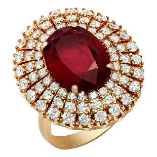 14k Rose Gold 6.71ct Ruby 1.89ct Diamond Ring