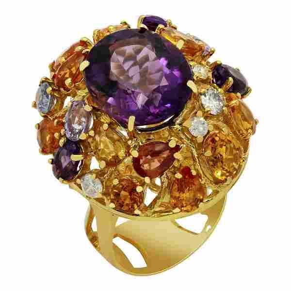 14k Yellow Gold 8.60ct Amethyst 7.71ct Multi-Stone