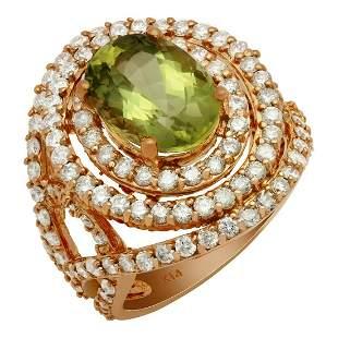 14k Rose Gold 4.15ct Green Beryl 2.38ct Diamond Ring
