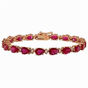 14k Rose Gold 17.41ct Ruby 0.62ct Diamond Bracelet