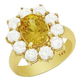 14k Yellow Gold 3.50ct Yellow Sapphire 2.18ct Diamond