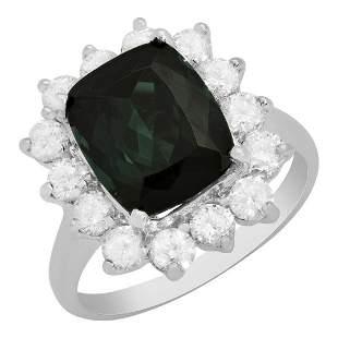 14k White Gold 4.46ct Green Tourmaline 1.27ct Diamond