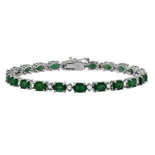 14k White Gold 11.20ct Emerald 0.67ct Diamond Bracelet