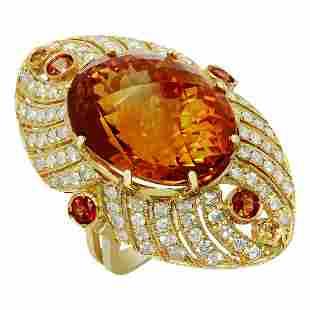 14k Yellow Gold 25.16ct Citrine 0.95ct Sapphire 1.75ct