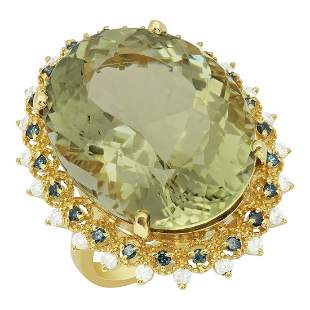14k Yellow Gold 30.72ct Green Amethyst 0.34ct & 0.53ct