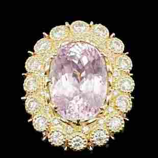 14K Yellow and Rose Gold 19.62ct Kunzite and 2.78ct
