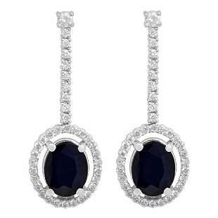 14k White Gold 4.60ct Sapphire 0.79ct Diamond Earrings