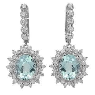 14k White Gold 6.41ct Aquamarine 1.58ct Diamond