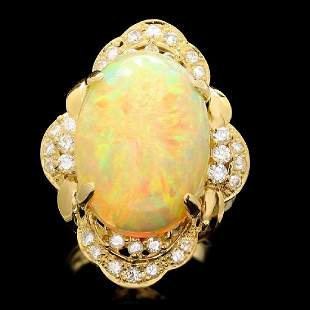 18K Yellow Gold 10.88ct Opal and 0.76ct Diamond Ring