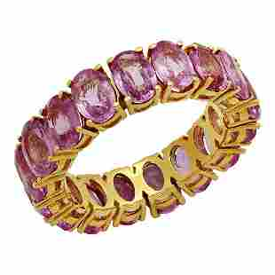 14k Yellow Gold 10.18ct Pink Sapphire Eternity Band