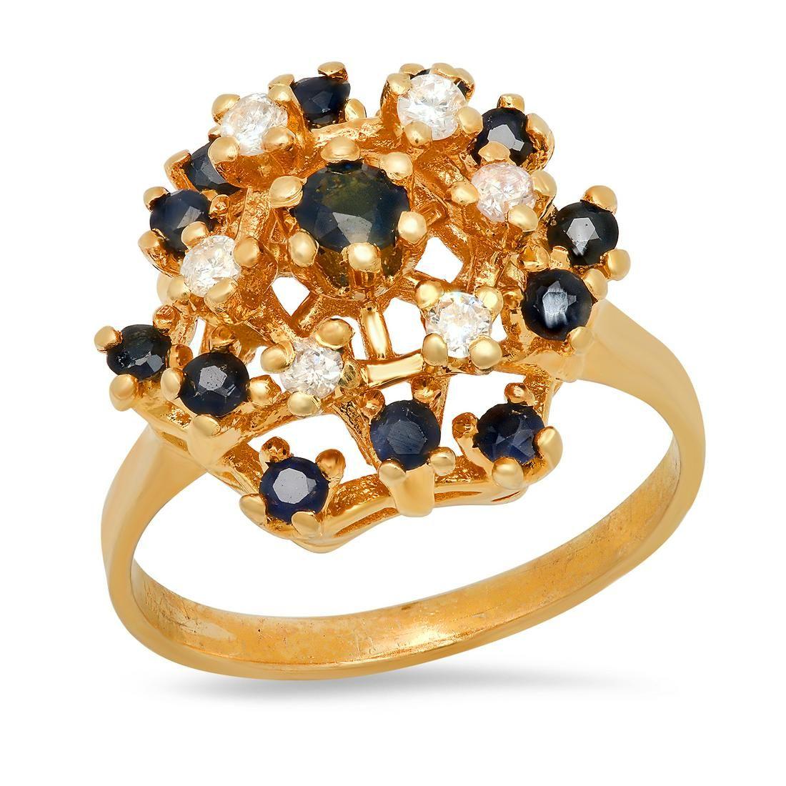 14K Yellow Gold Sapphire and Diamond Ladies Ring