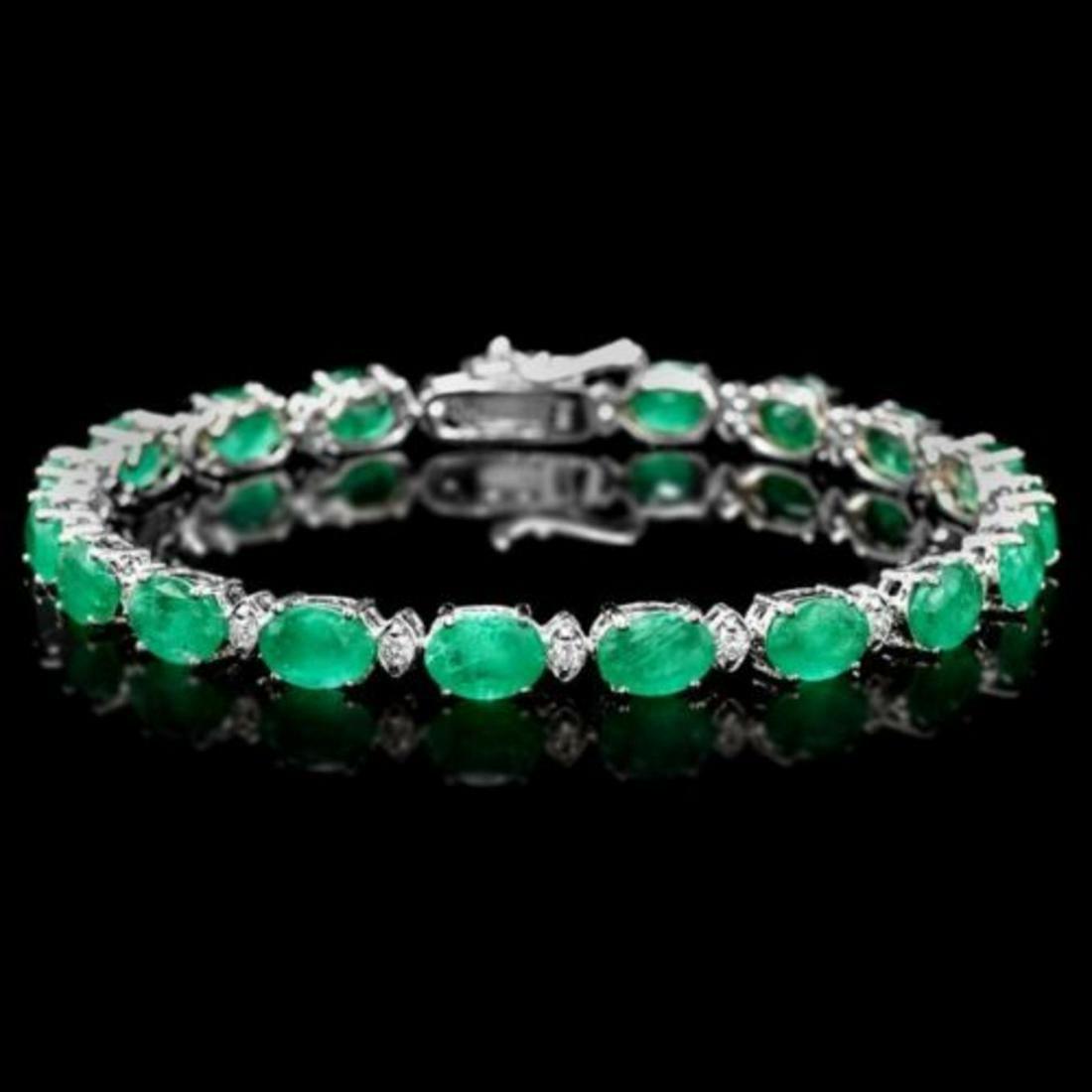 14K Gold 13.31ct Emerald 0.80ct Diamond Bracelet