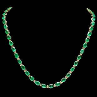 14K Yellow Gold 31.94ct Emerald and 1.68ct Diamond
