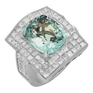 14k White Gold 7.82ct Aquamarine 7.09ct Diamond Ring