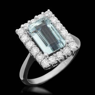 14K White Gold 3.50ct Aquamarine and 0.99ct Diamond